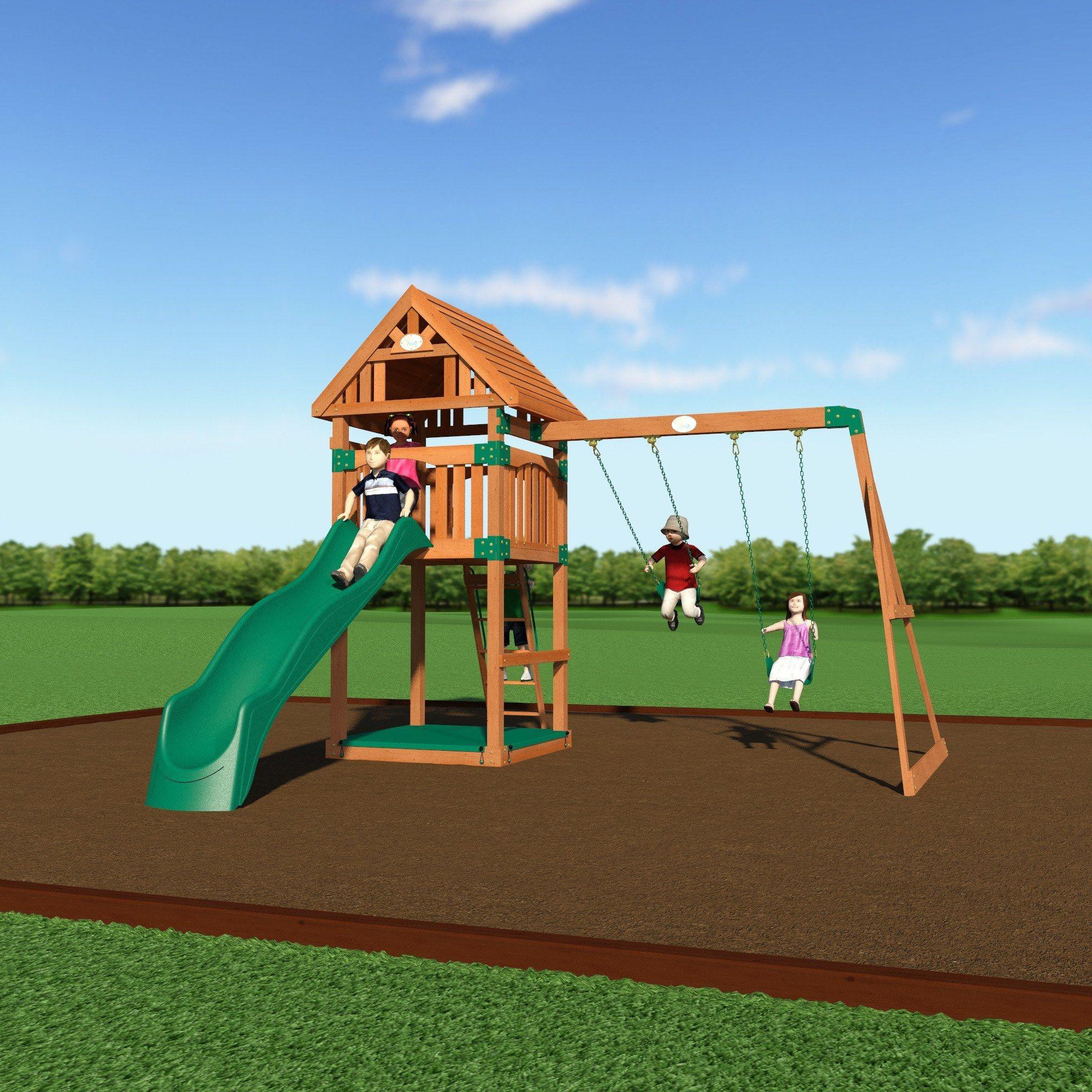 trek wooden swing set high deck