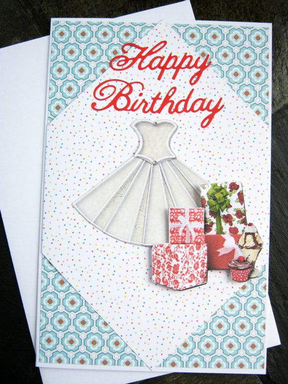 Party dress birthday card happy birthday birthday celebration for happy birthday wishes for her 3d birthday card by littledebskis bookmarktalkfo Choice Image