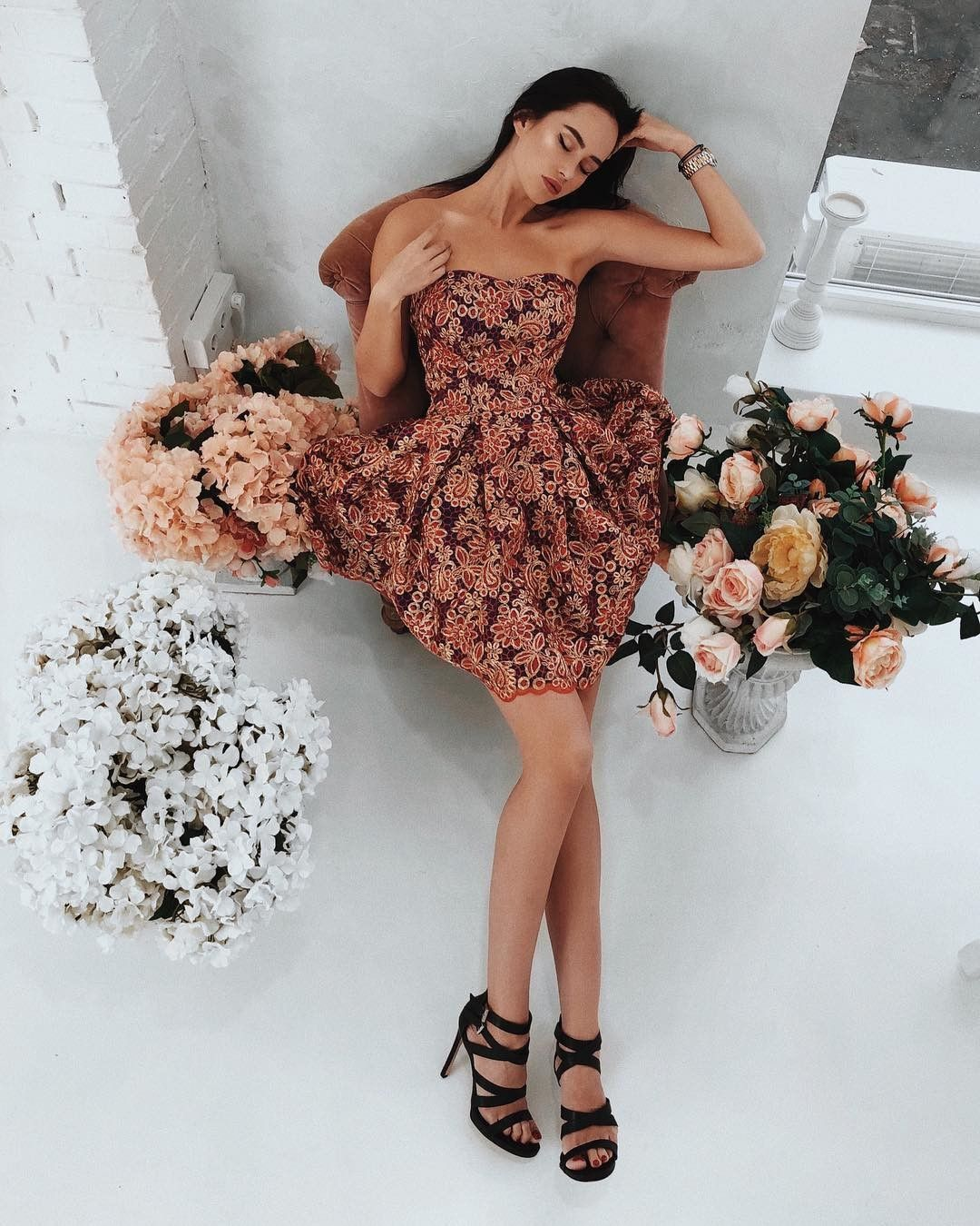 Aline strapless pleated floral short homecoming prom party dress in