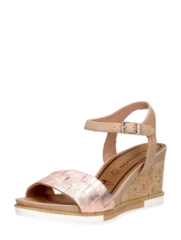 Tamaris modieuze roze dames sandalen met kurkzool en sleehak