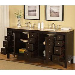 Silkroad Exclusive Pomona 72 Inch Double Sink Bathroom Vanity