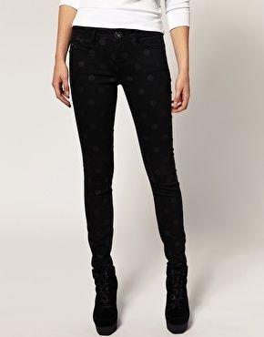 River Island Skinny Jeans In Polka Dot - StyleSays
