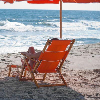 Breakwater Bay Portsville Oak Wood Commercial Grade Beach Chair Color: Orange