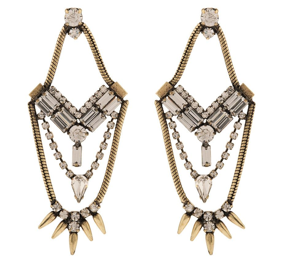 Martine Wester - COSMIC STATEMENT CHANDELIER SPIKY EARRINGS IN CRYSTAL, £10 (http://martinewester.com/products/cosmic-statement-chandelier-spiky-earrings-in-crystal.html)