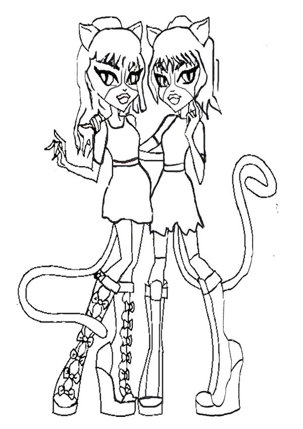 twin purrsephone and meowlody coloring page monster high coloring page pinterest coloring