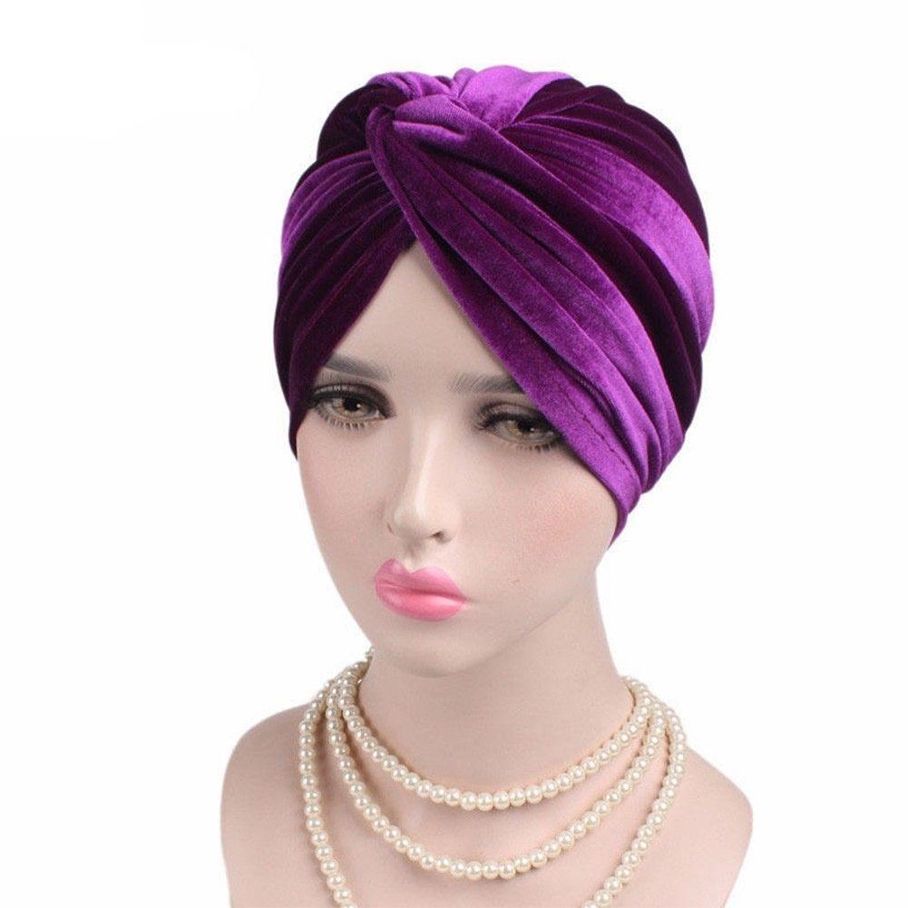 Woman Indian Style Velvet Turban Hat Bandana Chemo Head Wrap Muslim  Headscarf  fde16ad73e30