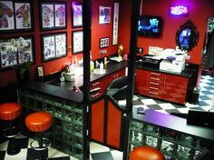 Love the flooring. Idea for partitioned walls. | tattoo shop ...