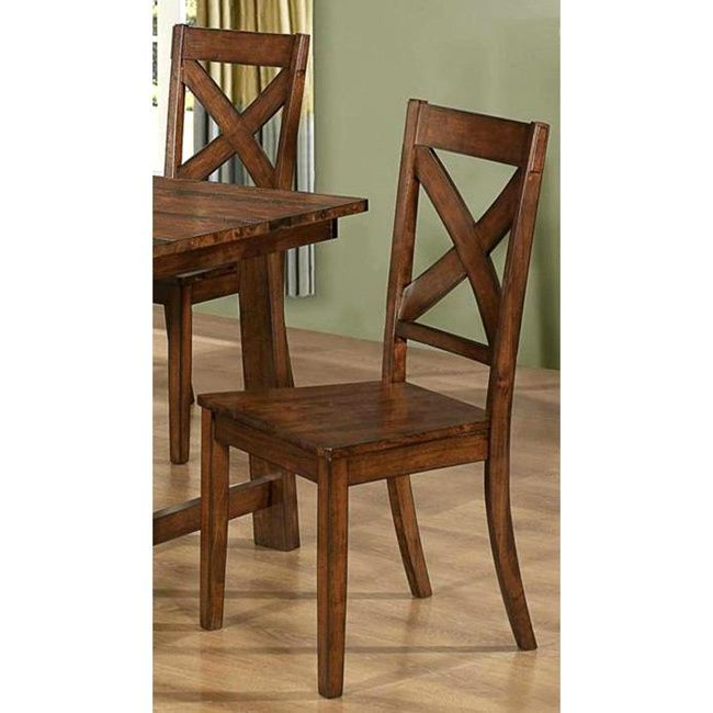 Vintage Rustic Pecan Finish Dining Chairs Set Of 2 Dark Oak