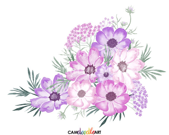 Pink And Purple Watercolor Flowers Clipart Set Hand Painted