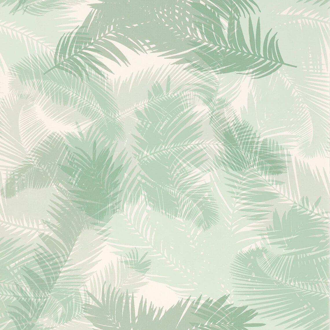 Papier peint TROPIC Vinyle sur Intissé motif tropical, Vert d'eau