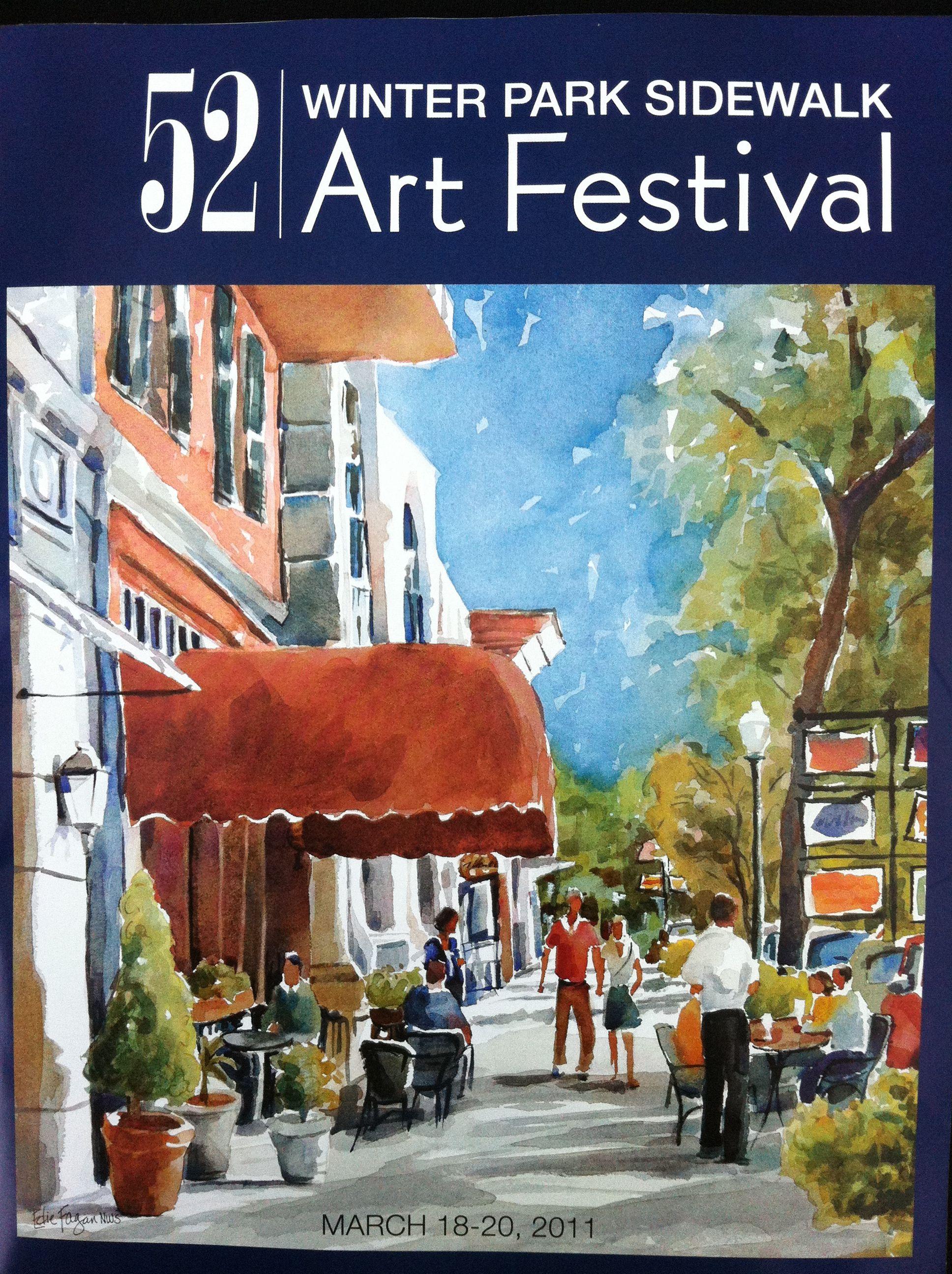 Winter Park Fl Art Festival Sidewalk Art Art Festival Poster