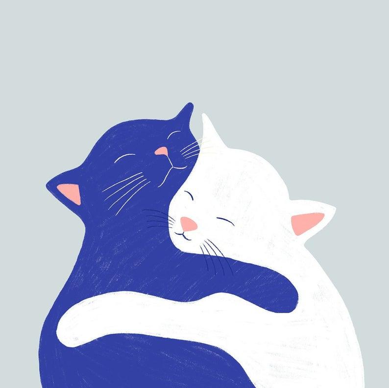 Cat Love / Minimalist / Flat / Illustration / Home Decor / Art | Etsy