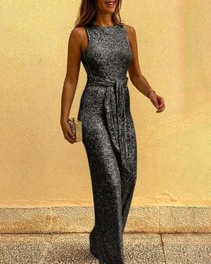 Photo of Glitter Round Neck Sleeveless Backless Sequins Jumpsuits