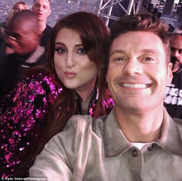 Smile! Her outfit must have been head-turning, as she was the first celeb to take a selfie with host Ryan Seacrest, which he promptly posted to Instagram
