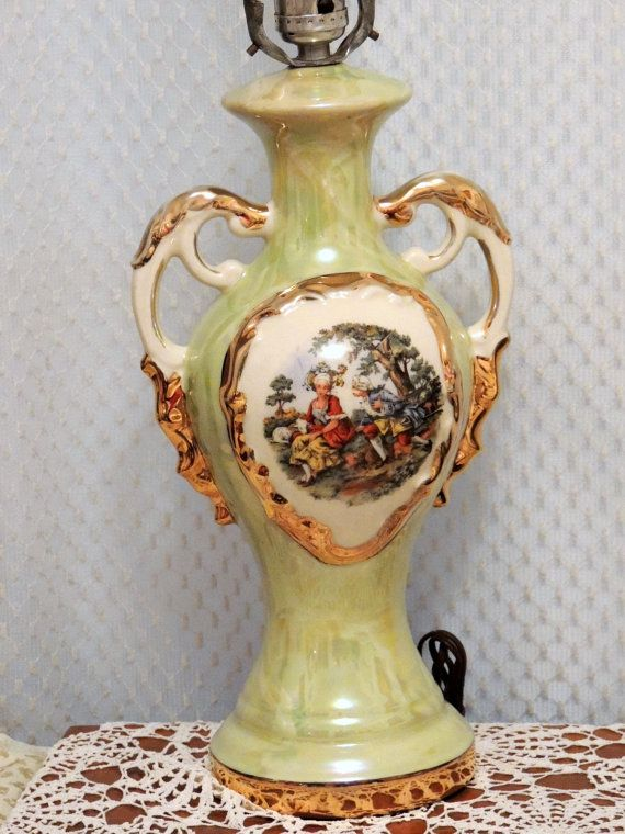 George And Martha Washington Table Lamp Circa 1940 By