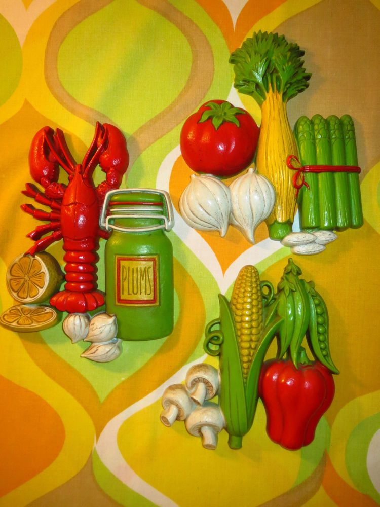 VTG 1970s Retro Kitsch Homco 1975 Plastic Kitchen Wall Art Lobster ...
