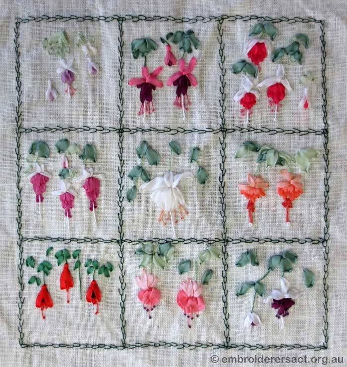Silk Ribbon Embroidery Fuchsias Sulam Benang Pinterest Silk