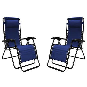 Zero Gravity Reclining Outdoor Lounge Chair 2 Pack Lawn Chairs