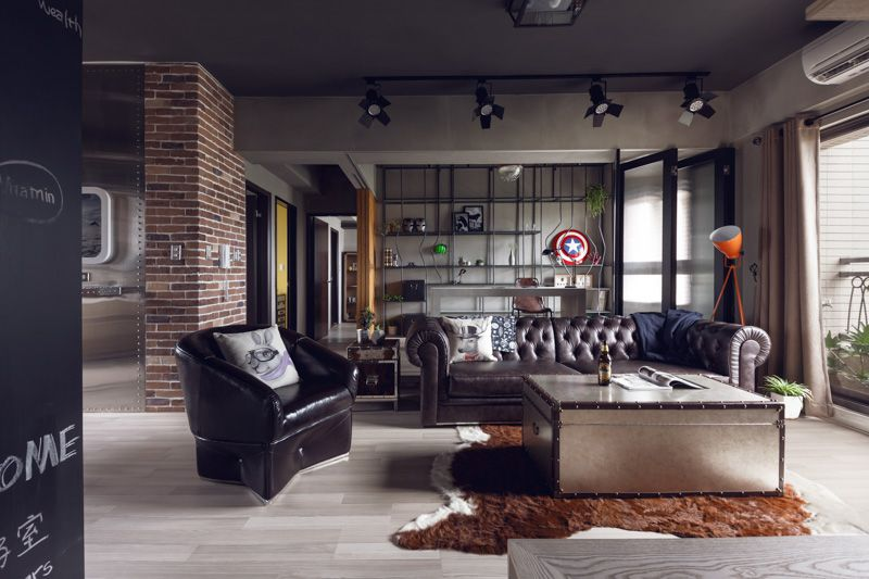 Perfect Balance Achieved For An Industrial Bachelor Pad With