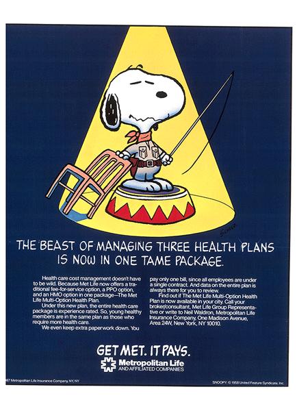 米国メットライフの企業広告を紹介するページです スヌーピー