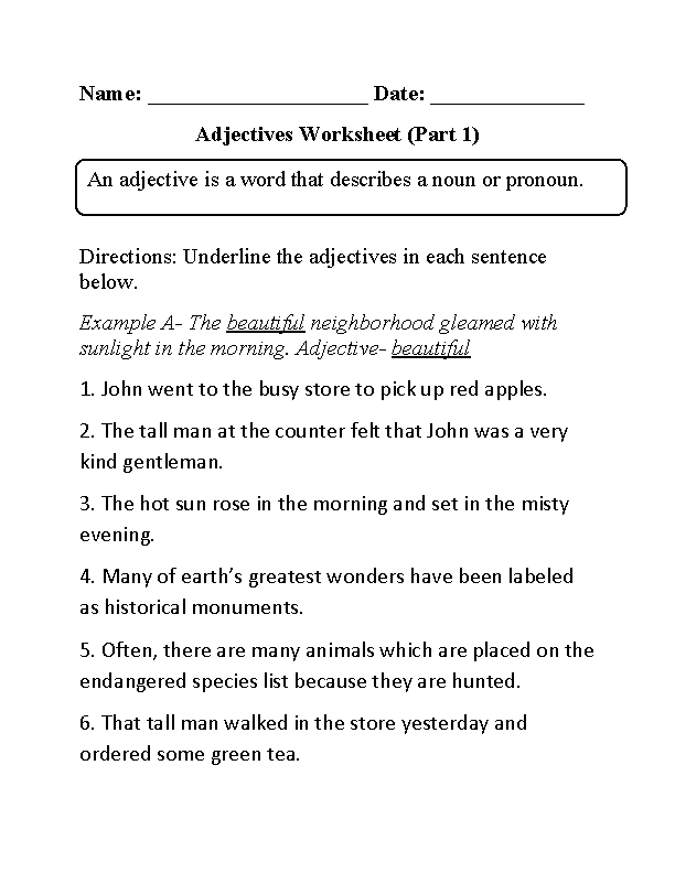 Adjectives Worksheet Underlining Part 1 Beginner | Home Schooling ...