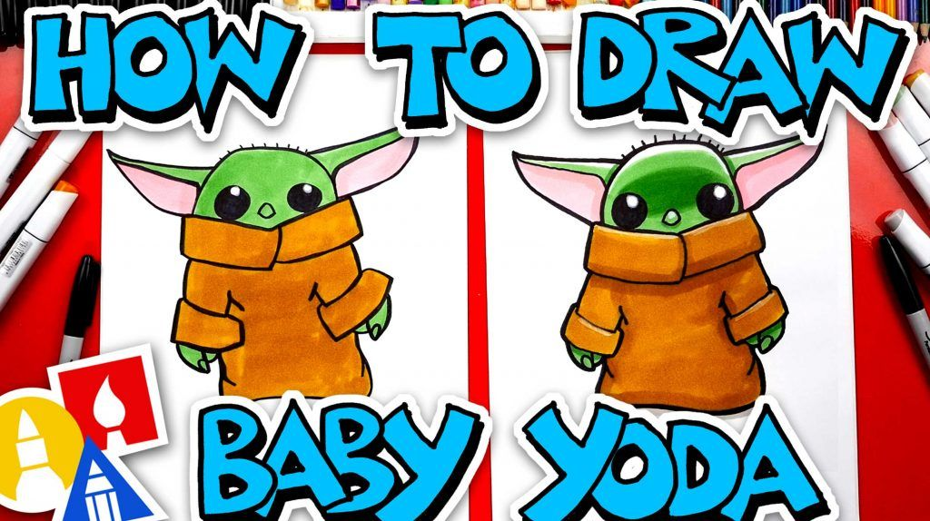How To Draw Baby Yoda From The Mandalorian Art For Kids Hub Art For Kids Hub Yoda Drawing Art For Kids