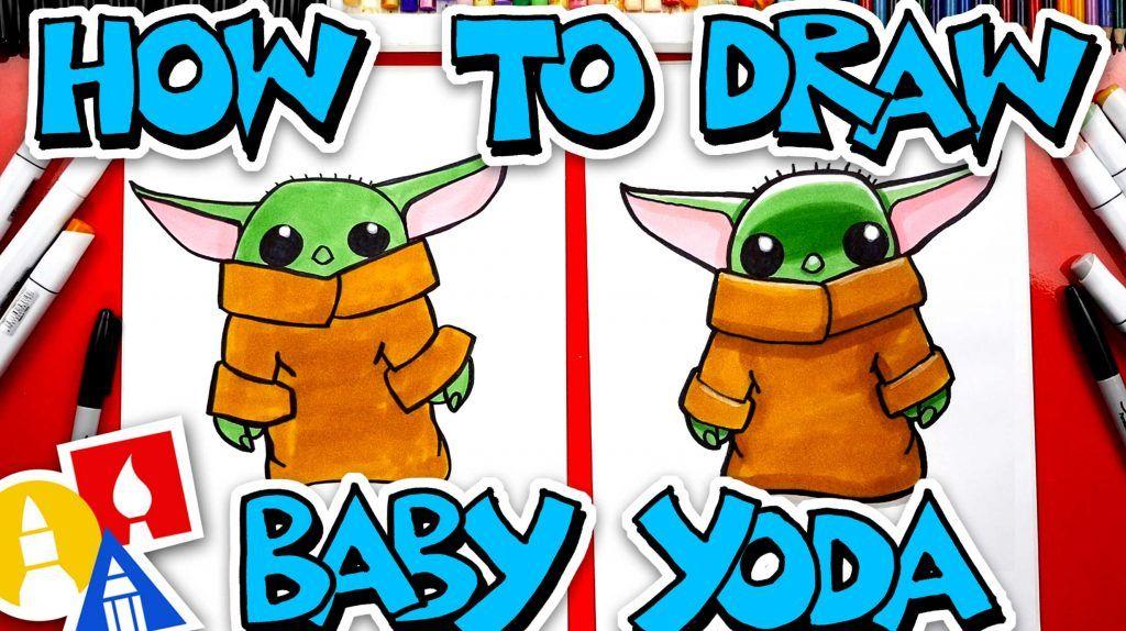How To Draw Baby Yoda From The Mandalorian Art For Kids Hub Art For Kids Hub Yoda Drawing Baby Drawing