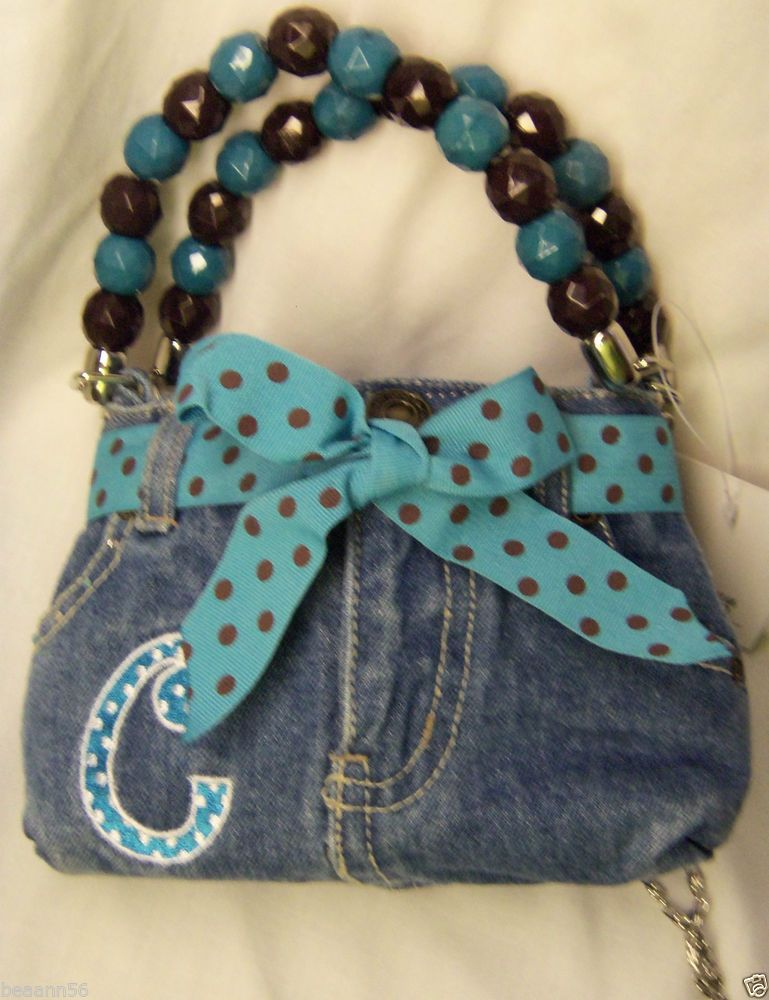 Denim Blue Jean Inital Purse Handbag Letter C Bow Rhinestone Gingham Magnetic