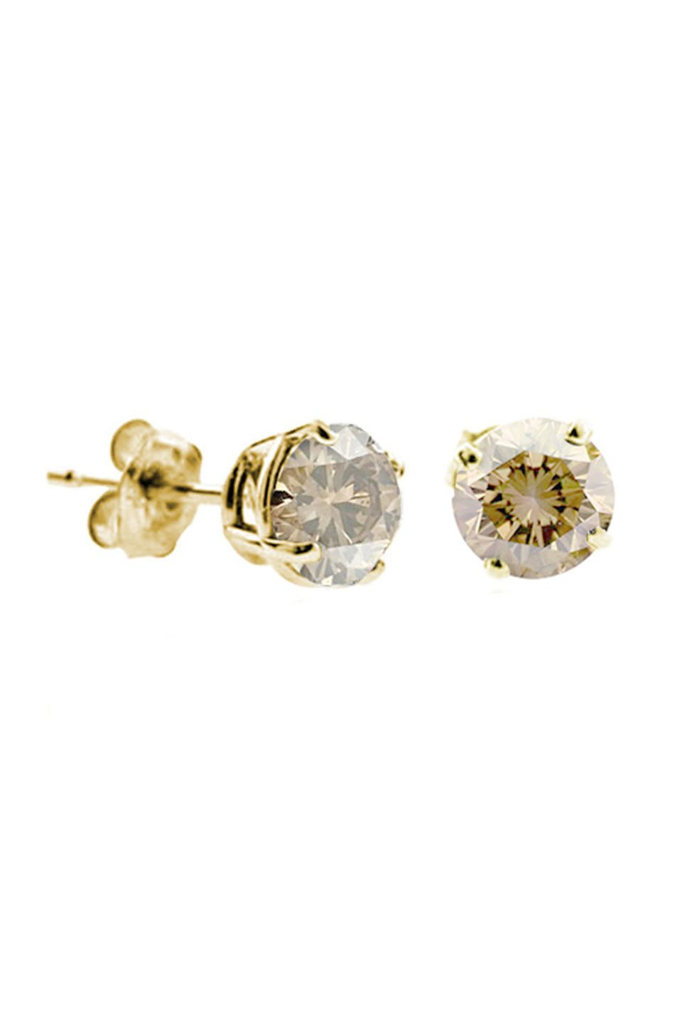 earrings stud champagne silver p diamond