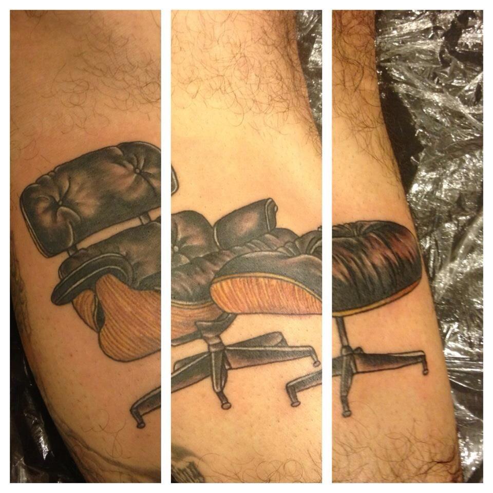 Eames chair forearm tattoo aj mcguire marion street tattoo