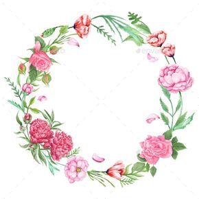 Shabby Chic Floral Wreath Bunga Cat Air Seni Kartu