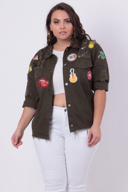 e6381f03af2 Plus Size Ripped Denim Patch Jacket - Olive