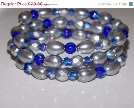 33%OFF Silver Pearl and Cobalt Wrap Bracelet by EriniJewel on Etsy