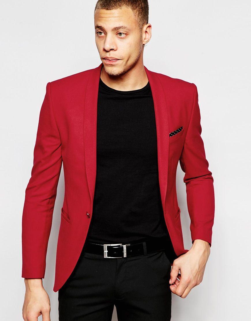 ASOS Super Skinny Suit Jacket In Red