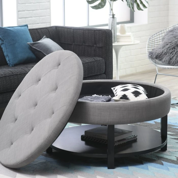 Belham Living Dalton Coffee Table Storage Ottoman With Tray