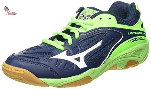 Mizuno Wave Stealth 4, Multi-Sports - Intérieur Homme - Bleu -(Dressblues/Greengecko/Silver), 42 EU (8 UK)
