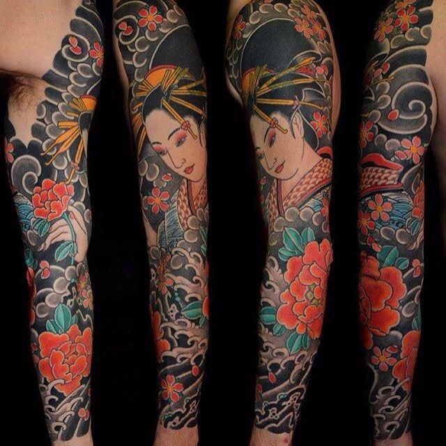 I Like Horimono Geisha Full Sleeve By Rory Pickersgill Tattoo Hinh Xăm Hinh Xăm Ngực Xăm