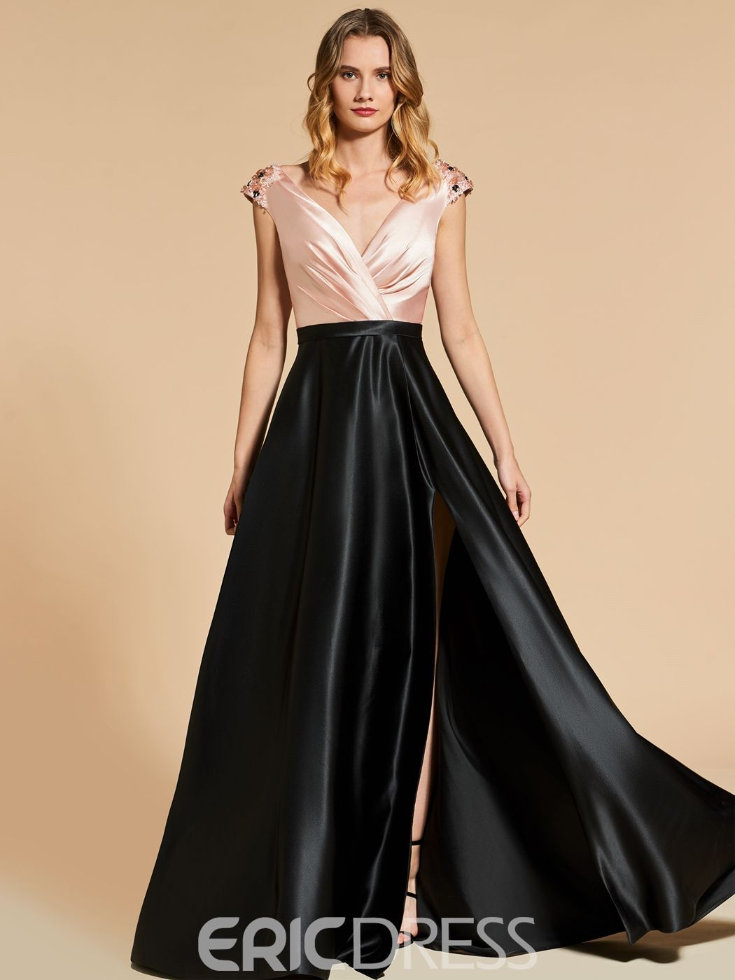 2f71b92f0478cb Ericdress A Line Beaded Cap Sleeve V Neck Evening Dress With Side Slit  13097779 - Ericdress.com