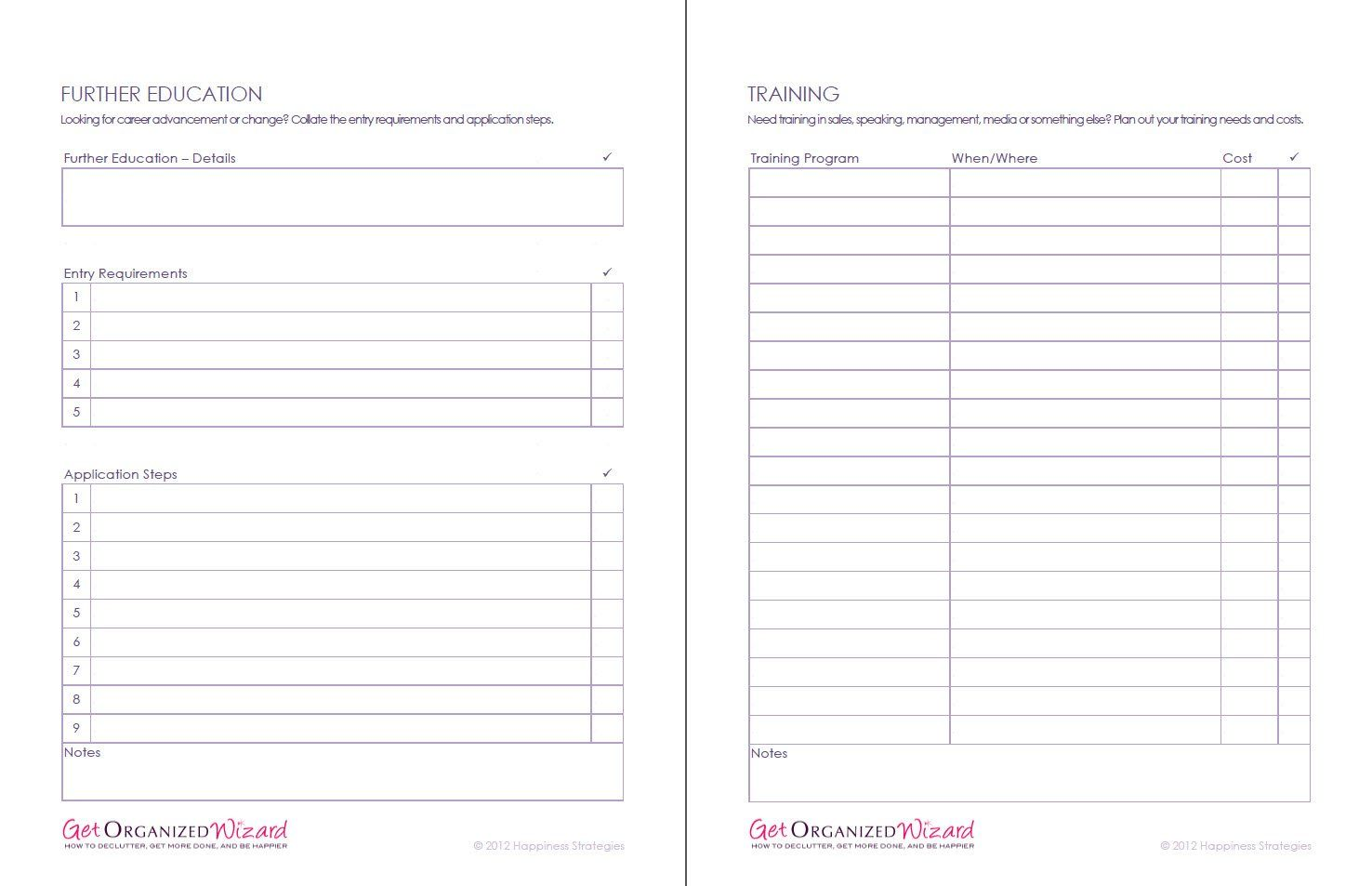 Personal Training Worksheets