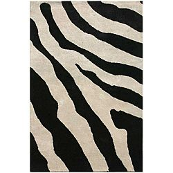 Hand-tufted Wool and Art Silk Zebra Print Rug (3'6 x 5'6)