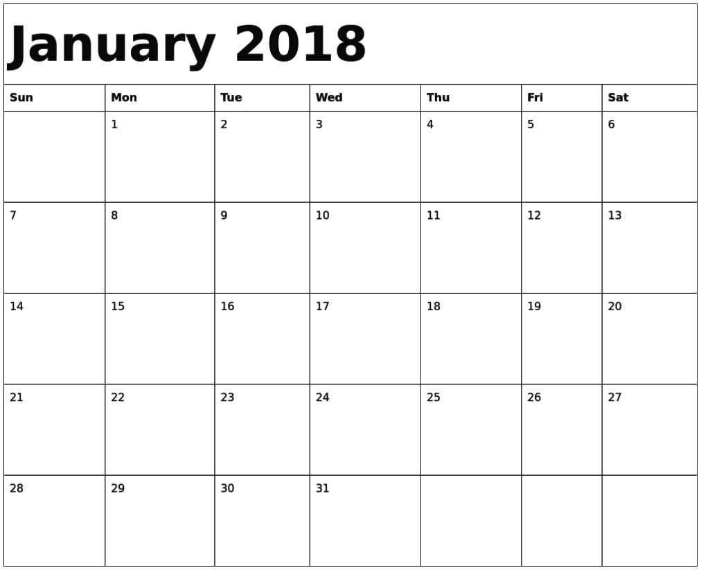 january 2018 calendar fillable
