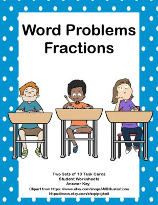 There are 20 task cards ( 2 sets of 10) that will provide practice for your students in solving word problems using fractions. Aligned with CCSS.MA…