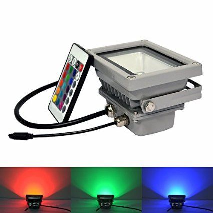 Honesteast Remote Control 10w Rgb Led Flood Lights Color Changing Led Security Light 16 Colors 4 Modes W Led Flood Lights Waterproof Led Security Lights