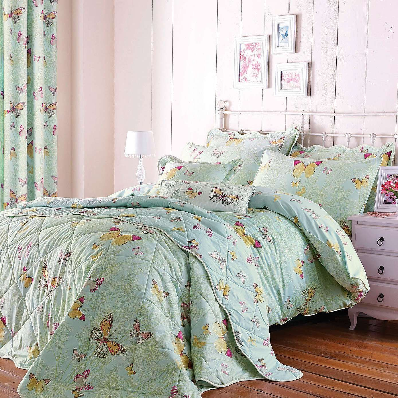 Bedroom Sets Wooden Bedroom Lighting Dunelm Back Bedroom Chairs Cool One Bedroom Apartment Designs: Eau De Nil Botanica Butterfly Duvet Cover Set