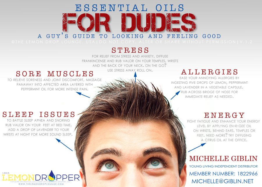 Essential Oils for Dudes. A guy's guide for looking and feeling good using Young Living essential oils. EOs that can relieve Stress, allergies, sore muscles, help with sleep issues and boost stamina and energy. Michelle Giblin - YL Distributor# 1822966