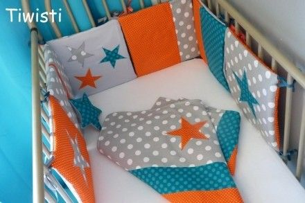 tour de lit coussins original turquoise gris orange toile linge de lit enfants par tiwisti. Black Bedroom Furniture Sets. Home Design Ideas