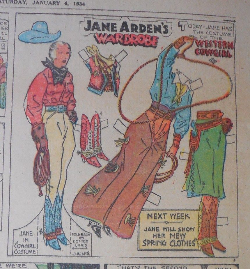 Jane Arden Sunday with Large Uncut Paper Doll from 1 7 1934 Full ...