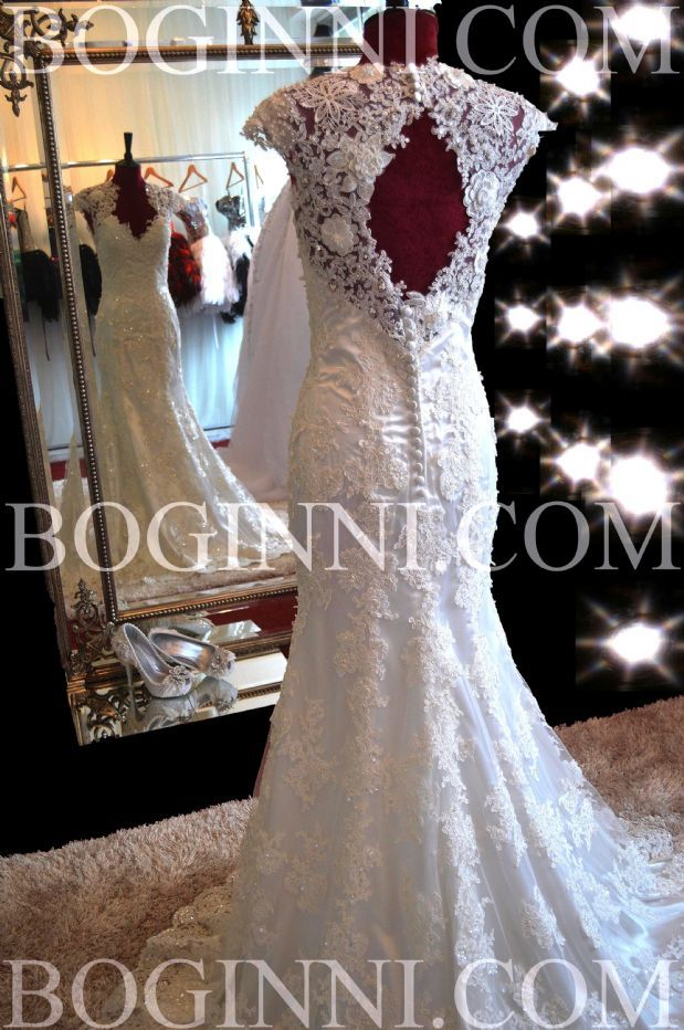 WHITE OVER LACE PATTERN OPEN BACK FITTED TRUMPET WEDDING DRESS ...