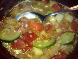 Ecuadorean Quinoa and Vegetable Soup- replaced the tomatoes with a can of diced tomatoes and added some garlic. Very yummy! 10/10