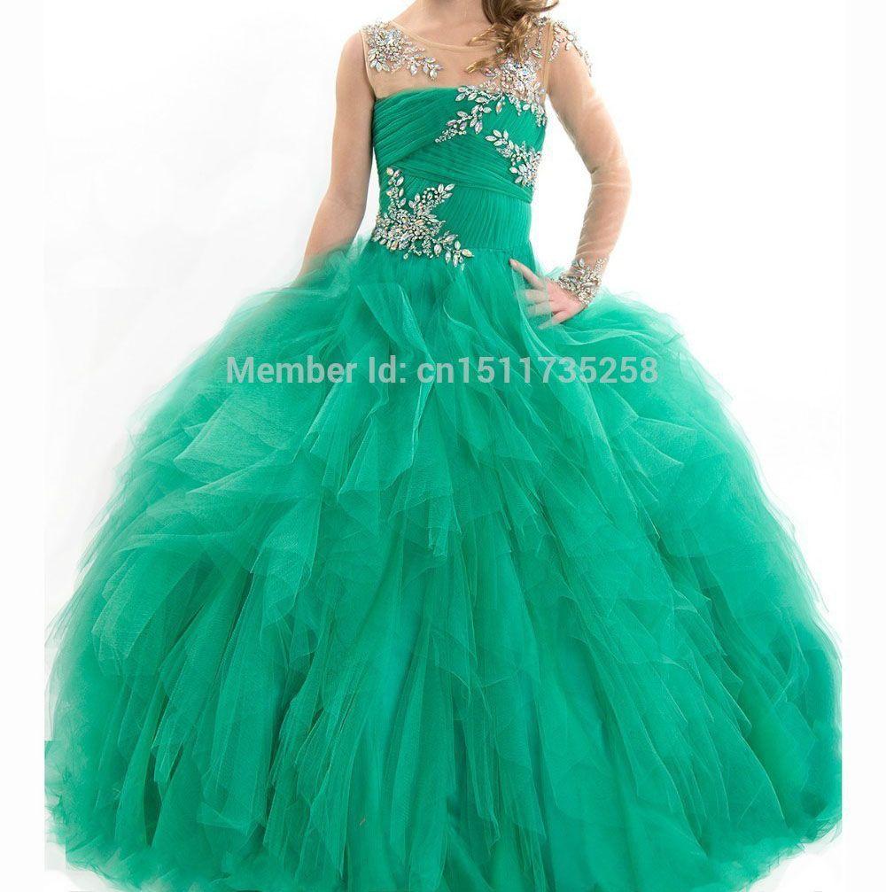Esmeralda de bola de las muchachas vestidos del desfile tamaño ...